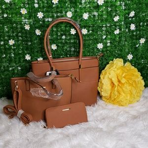 Handbags - Faux Leather Cognac 3bags in 1 handbag set